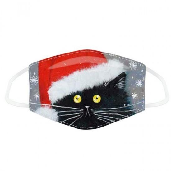 ΜΑΣΚΑ ΠΡΟΣΤΑΣΙΑΣ KIM HASKINS CHRISTMAS BLACK CAT REUSABLE - Large