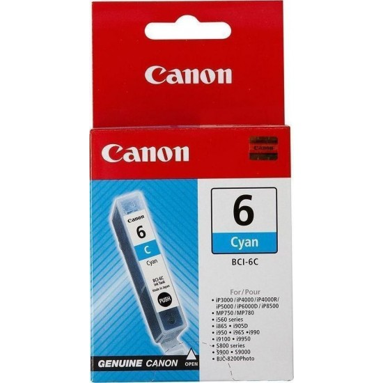 CANON BCI-6 C INK CARTRIDGE CYAN ORIGINAL (280 PAGES, 13ML) 4706A002
