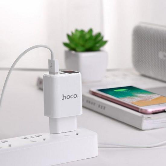 HOCO C63A VICTORIA ΦΟΡΤΙΣΤΗΣ DUAL USB ΜΕ LED DIGITAL DISPLAY